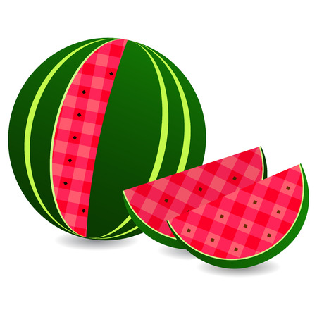 cellule: Flat icon watermelon and slice of watermelon isolated on white. Illustration