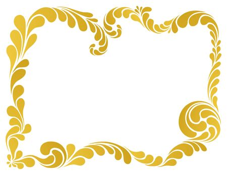 golden frame: abstract floral pattern, golden frame illustration