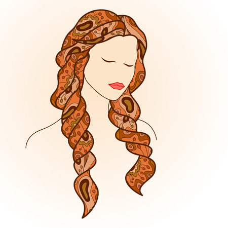 closed eyes: Beautiful woman with closed eyes and long hair, decorated with doodles