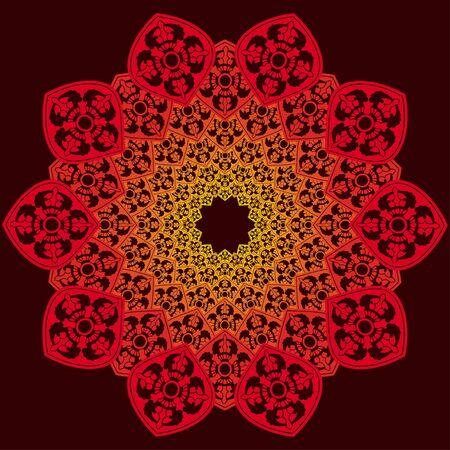 sier ronde patroon, rode decoratie op donkere achtergrond Stock Illustratie