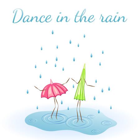 ounce: Two umbrellas. Dance in the rain. Vector illustration