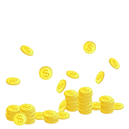 tax tips: Golden coins with dollar symbol. Vector illustration.