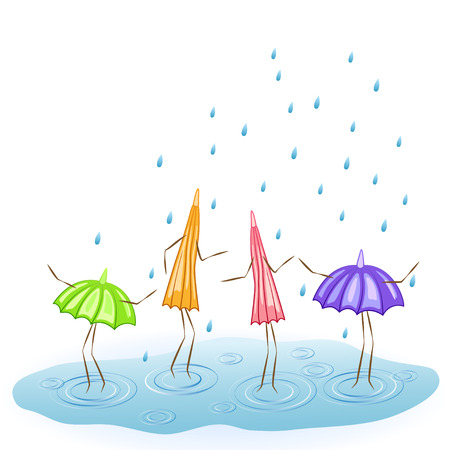gamp: Four cartoon umbrellas. Dance in the rain. Vector illustration