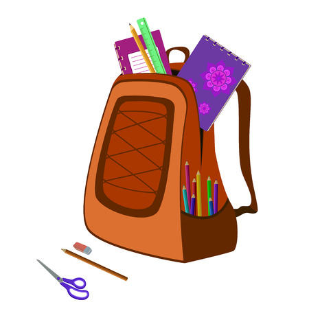 schoolwork: school bag packed with notebooks, pencils, scissors, ruler and eraser on white Illustration