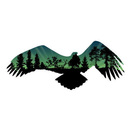 wingspan: Eagle silhouette with fur tree and pine tree. Isolated on white background. Vector illustration.