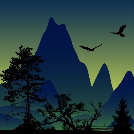 wingspan: Vector landscape. Panorama of mountains. Flying eagles. Vector illustration Illustration