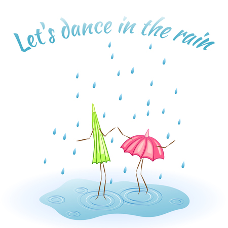 umbel: Two umbrellas. Dance in the rain. Vector illustration