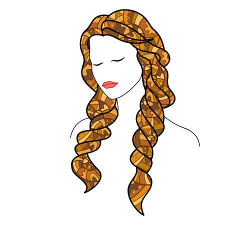 Beautiful woman with closed eyes and long hair, decorated with doodles. Vector illustration Illustration