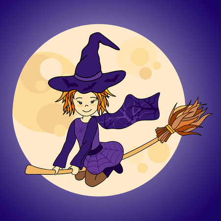 Cute little witch flying. Cartoon vector illustration with moon and bats