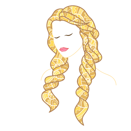 Beautiful woman with closed eyes and long blonde hair, decorated with doodles. Vector illustration Illustration