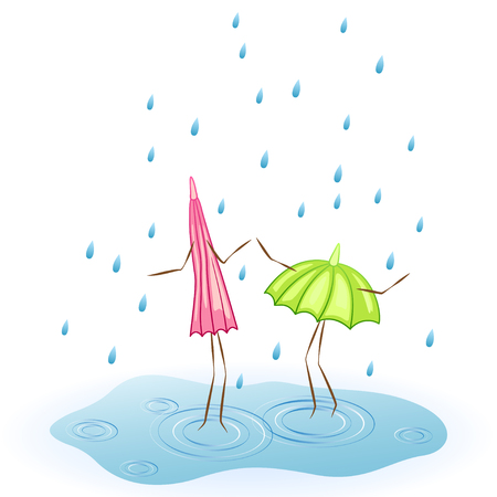 brolly: Two umbrellas. Dance in the rain. Vector illustration