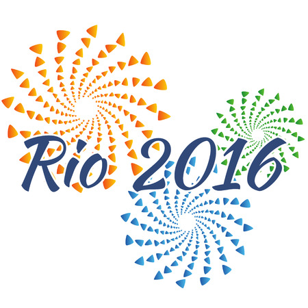 brazilian flag: Sign symbol Rio olympics games 2016 in colors of the Brazilian flag. Vector illustration