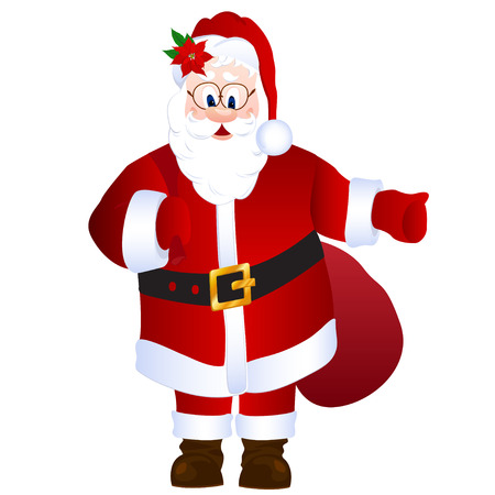 Cartoon Santa Claus isolated vector illustration. With sack and poinsettia on the hat. Hitch-hiking with thumb up