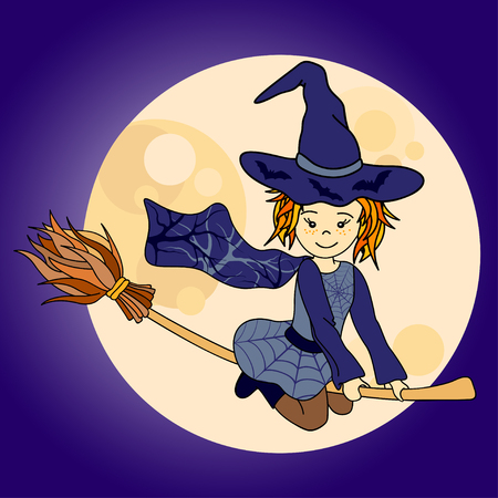 hair dressing: Cute little witch flying. Cartoon vector illustration with moon Illustration