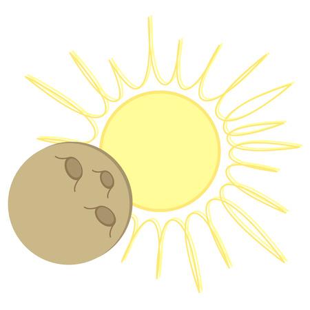 Solar Eclipse flat cartoon design.