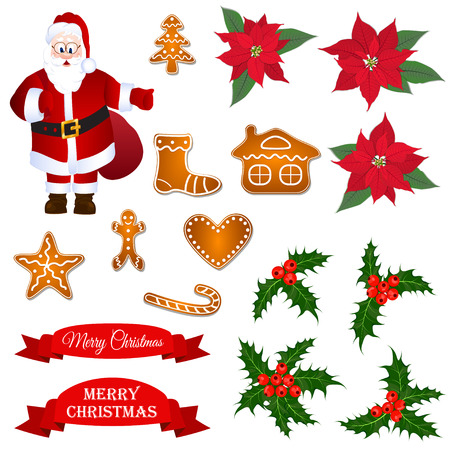 christmass: Christmass set with Santa, holly berry, poinsettia and gingerbread cookies