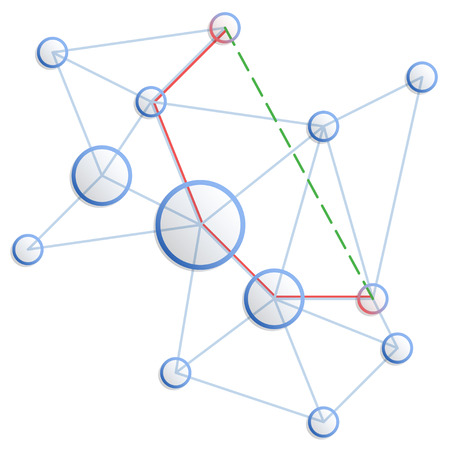 shortest: Network. concept of shortest path from one point to another. Blue circles and connecting lines.