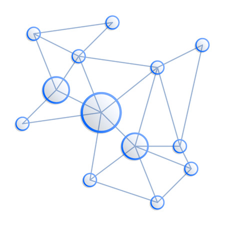 blue circles: Network concept. Blue circles and connecting lines Illustration