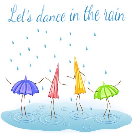 Vier parasols. Dansen in de regen. Vector Illustratie
