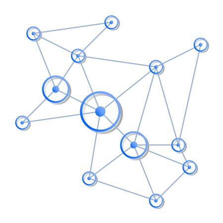 Network vector concept. Blue circles with centers and connecting lines