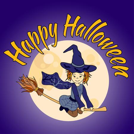 niños vistiendose: poco vuelo linda bruja. ilustración vectorial de dibujos animados con la luna. Happy Halloween tarjeta