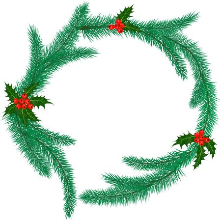 ilex: Christmas ring made of fir branches with holly berries. Vector illustration Illustration