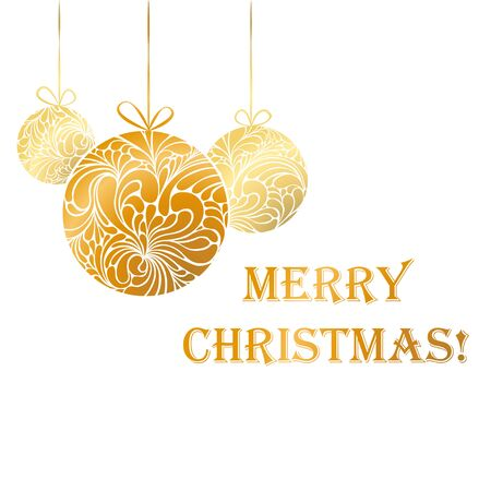 gold christmas decorations: Vector illustration with golden Christmas tree toys and text - greating card