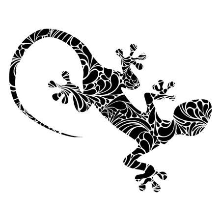 Vector lizard - flat pictogram. Isolated illustration on white Vettoriali