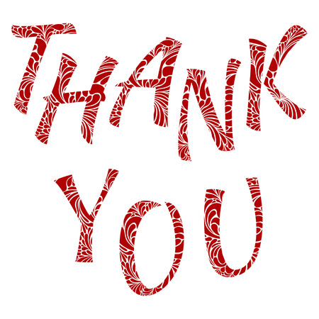 Thank You red vector lettering. Text for gratitude expressing Çizim