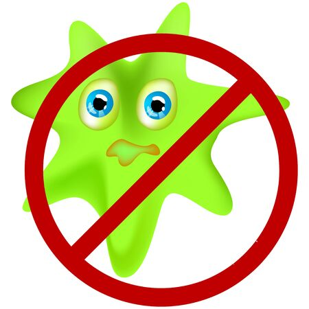 A cartoon vector illustration of green virus looking scared. Antibacterial concept