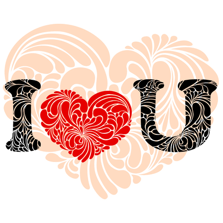 Abbreviated I love You text with stylized red heart and U instead of You . Vector illustrations