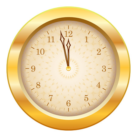 midnight time: Gold shiny new year clock showing time close to midnight. Vector illustration