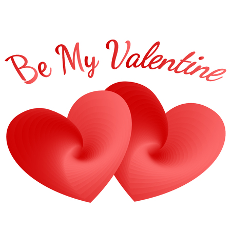 two red vector hearts and be my Valentine text