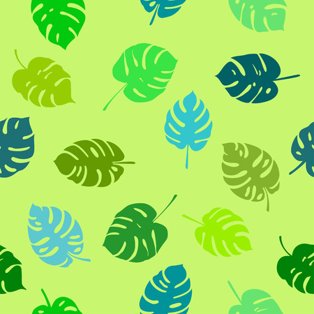 backdrop: Abstract monstera leaves pattern - seamless backdrop wallpaper Illustration
