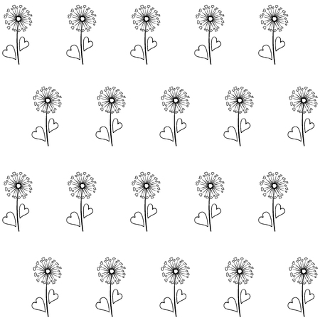 love blow: Dandelion isolated on white vector seamless pattern. Meadow flower illustration with heart shaped fluff. Repeating floral ornament with black dandelion isolated. Blow ball summer blossom black outline Illustration