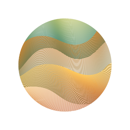 Circle ripple lines abstract vector illustration on white background. Curve wavy lines circle with ripple texture design. Bright clip art pattern with green, brown, orange curves. Round shape of waves