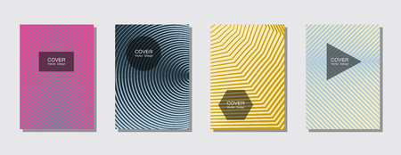 Modern abstract covers set. Cool gradient shapes composition. Futuristic design. Covers templates set with graphic geometric shape elements. Placards, brochures, posters, banners vector set.