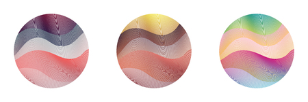 Circle ripple set abstract vector illustration on white background. Artistic bright patterns with colorful curve lines arranged in round shapes. Wavy lines circle ripple curves set for logo design.
