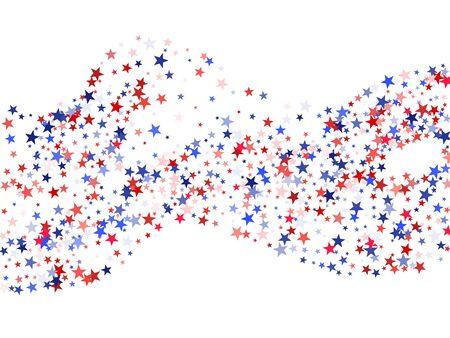 미국 국기 배경, 파란색과 빨간색 별이 떨어지는 색상. 미국 대통령 카드, 배너, 포스터 또는 전단지 하루 배경. 빨간색, 흰색, 파란색 휴일 스타 먼지 패턴. 미국 기호 색종이입니다. 스톡 콘텐츠 - 88775469