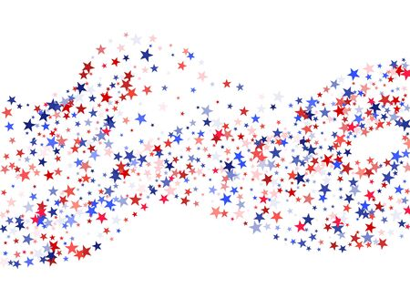 Colors of USA flag background, blue and red stars falling. American President Day background for card, banner, poster or flyer. Holiday star dust pattern in red, white, blue. USA symbols confetti. Stok Fotoğraf - 88775469