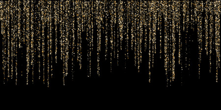 Gold glitter garlands hanging background vector illustration. Golden dust elements falling down, flying suqare confetti vertical lines. Premium sparkle dots, tinsels celebration graphic design.