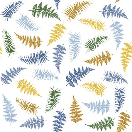 シダの葉状体ハーブ、熱帯森林植物葉シームレスなベクトル背景イラストです。ワラビの葉葉のジャングル、熱帯のシダの森の白い背景の上の草ハ