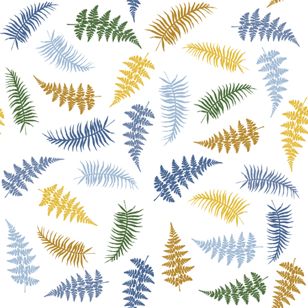 Fern frond herbs, tropical forest plant leaves seamless vector background illustration. Bracken foliage, jungle leaves, tropical fern forest grass herb seamless pattern on white background.