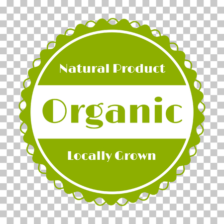Organic products icon, food package label vector graphic design. Organic food logo, no chemicals sign, round stamp isolated clip art, circle tag organic farming label or sticker vector emblem. Illustration