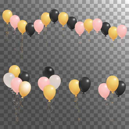 Rose gold pink, silver and black flying balloons isolated vector illustration, birthday party decoration elements. Bright flying helium balloons isolated. Party decor, birthday gift elements design. Çizim