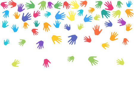 Colorful hands, palms isolated on white vector background illustration. Multicolored handprints - symbols of friendship, teamwork, cooperation and partnership. Cartoon children hands prints in paint. Vettoriali