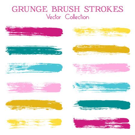 수채화 물감, 잉크 또는 페인트 브러시 획 선 색상 조합 카탈로그 디자인 요소. 벡터 격리 된 잉크 흔적, 레트로 페인트 dabs, 얼룩, 그런 지 브러시 줄무 일러스트