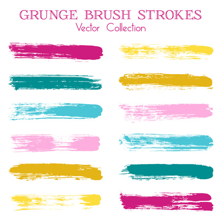 Watercolor, ink or paint brush stroke lines color combinations catalog design elements. Vector isolated ink traces, retro paint dabs, smudges, grunge brush stripes, paint daubs strokes set. Illustration
