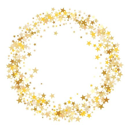 Gold sparkling background with star dust isolated on white. Gold stars sparkling glitter magic background. Golden glitter sparkles confetti flying on white, glossy shine border vector graphic design.
