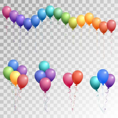 Multicolored flying bright helium balloons vector illustration for birthday party decoration elements.